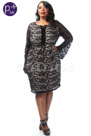 Plus Size Bell Sleeve Lace Mini Dress