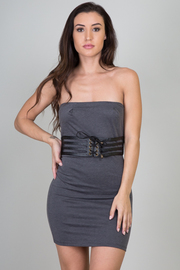 Solid Strapless Belted Dress