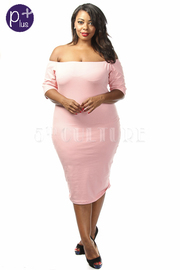 Plus Size Off The Shoulder Solid Knee Leght Dress