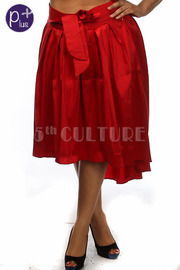 Plus Size Front Tie Pleated High Low Skirt