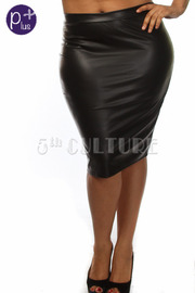 Plus Size Solid Faux Leather Midi Skirt