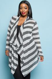 Plus Size Stripe Cardigan