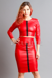 Faux Leather Crop Top With Skirt Set