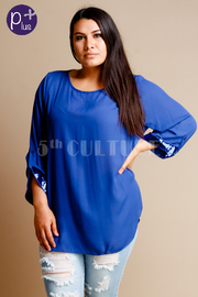 Plus Size Sequin Sleeve Detail Solid Blouse