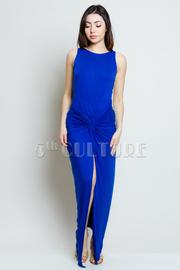 Front Twist Knit Solid Dress