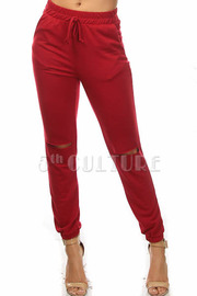 Knee Slit Solid Jogger Pants