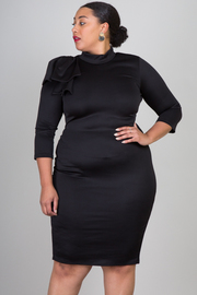Plus Size Big Bow Solid Bodycon Dress