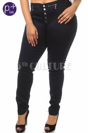Plus Size Zipper Detail Solid Skinny Denim Pants
