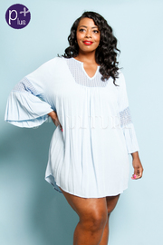 Plus Size Chrochet Detail Wide Sleeve High Low Top