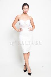 Sweat Heart Lace Top Faux Leather Midi Dress