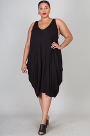 Plus Size Open Shoulder Over Size Shirt Dress