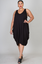 Plus Size Open Shoulder Over Size Shirt Dress