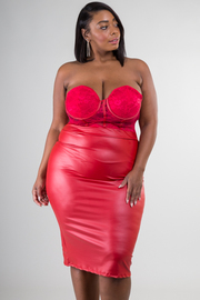 Plus Size Sweet Heart Faux Leather Midi Dress