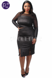 Plus Size Mesh Insert Faux Leather Crop Top And Skirt Set