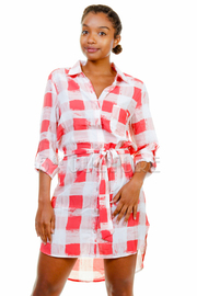 Plaid Waist Tie Shirt Mini Dress