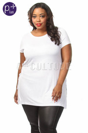 Plus Size Side Tie Up Short Sleeve Solid Top