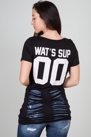 "Short Sleeve ""Wat's Sup"" Razor Back Top"
