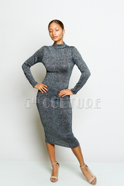 Metallic Long Sleeve High Neck Knee Legth Dress