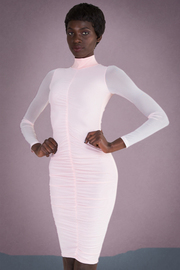 Long Mesh Sleeve Front Rushed Solid Midi Dress
