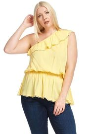 Plus Size One Shoulder Solid Peplum Top