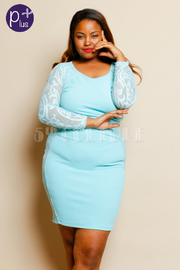 Plus Size Lace Long Sleeve Open Back Solid Bodycon Mini Dress