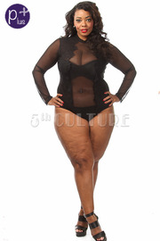 Plus Size All Over Mesh Front Lace Detail Bodysuit