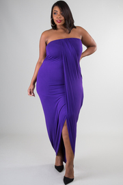Plus Size Strapless Overlay Solid Maxi Dress