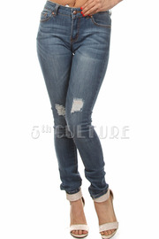 Front Distress Skinny Jeans