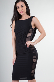 Sleeveless Scoop Open Back Side Mesh Mini Dress