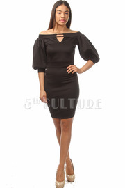 Off The Shoulder Peep Hole Solid Bodycon Dress