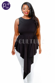 Plus Size Sleeveless Solid Front Tear Drop Top