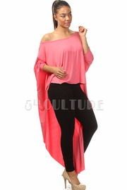 Solid One Off The Shoulder High Low Oversize Top