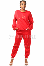 Zipper Detail Solid Jogger Pants Set