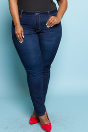 Plus Size Dark Wash Denim Skinny Jeans
