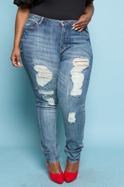 Plus Size Front Distressed Acid Wash Jeans