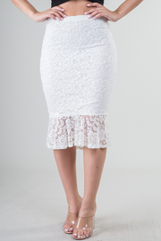All Over Lace Bottom Ruffle Midi Skirt