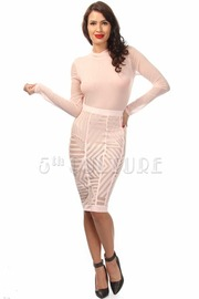 Mesh Unique Design Long Sleeve Midi Dress