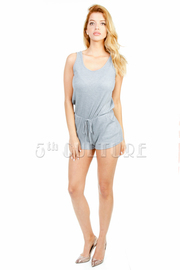 Sleeveless Draw Sting Solid Romper