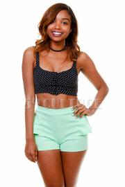Side Ruffle Solid Mini Shorts