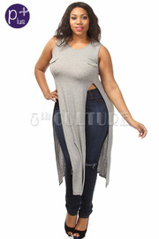 Plus Size Solid Sleeveless High Double Slit Maxi Top