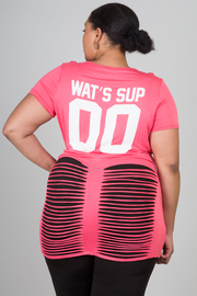 "Plus Size ""wat's sup "" Razor Cut Short Sleeve Top"