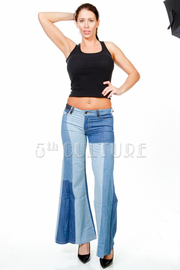 Denim Block Wide Leg Pants