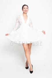 Long Sleeve Swirl Mesh Flared Mini Dress