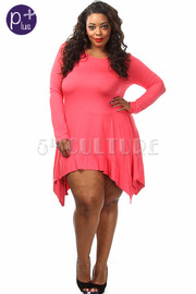 Plus Size Solid Long Sleeve Dress