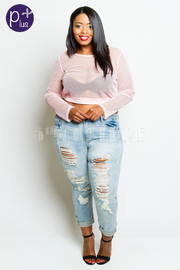 Plus Size Front Distressed Denim Jeans