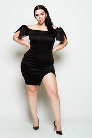 Plus Size Bow Shoulders Side Slit Solid Mini Dress