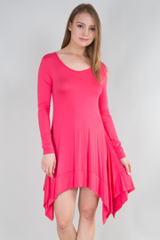 Long Sleeve Asymmetrical Solid Mini Dress