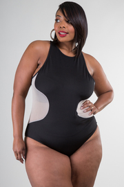 Plus Size Mesh Insert Sleeveless Bodysuit