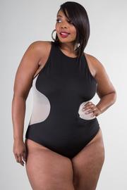Plus Size Mesh Insert Sleeveless Bodysuit