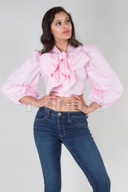 Long Bubble Sleeve Solid Front Big Bow Tie Crop Top